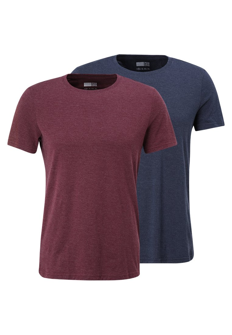 Pier One 2 PACK - T-Shirt basic - black/schwarz IsCCDm