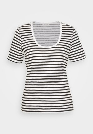 SHORT SLEEVE ROUND NECK STRIPED - Print T-shirt - multi/black