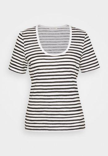 SHORT SLEEVE ROUND NECK STRIPED - Print T-shirt - multi/black