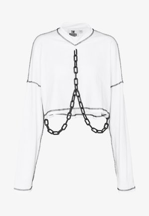 PLASTIC CHAIN DRAPE SKATER TEE - Long sleeved top - white