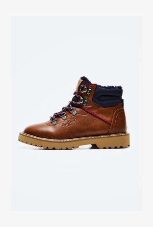 LEIA - Lace-up ankle boots - cognac