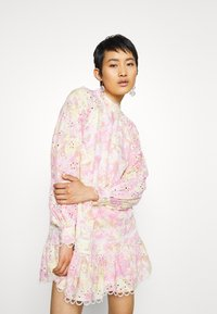 River Island - HIGH NECK BROIDERY DRESS - Day dress - multi-coloured - 0