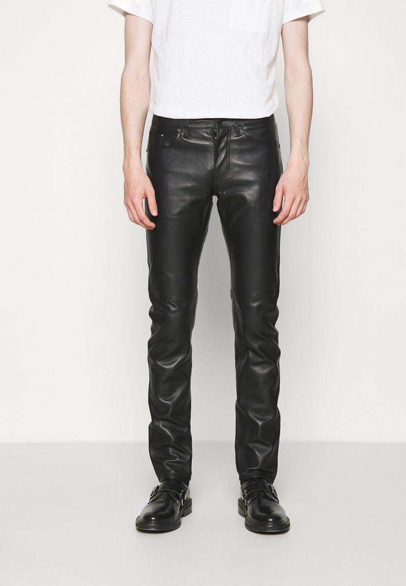 KARL LAGERFELD - PANTS - Spodnie skórzane - black