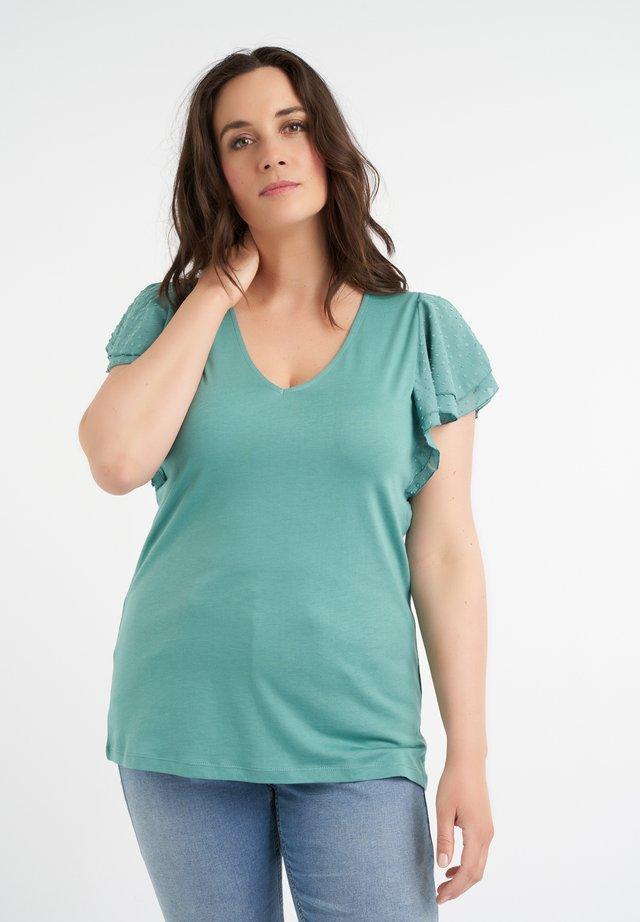 MET SIERLIJKE MOUWTJES - T-shirt imprimé - azure blue