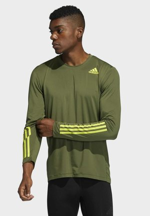 TECHFIT 3-STRIPES FITTED LONG-SLEEVE TOP LONG-SLEEVE  - Sports shirt - green
