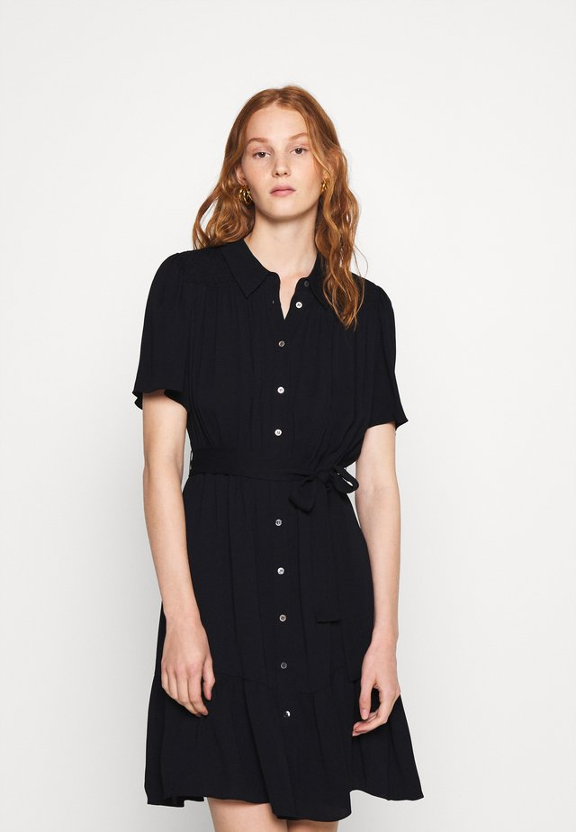 TATE SMOCKING DETAIL DRESS - Shirt dress - black