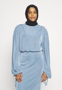 Missguided - MODESTY ACETATE VOLUME SLEEVE  - Long sleeved top - blue - 0