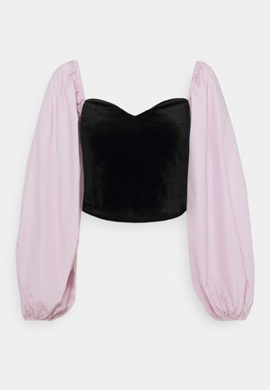 CROP WITH POPLIN SLEEVES - Long sleeved top - black