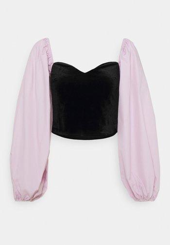 CROP WITH POPLIN SLEEVES - Long sleeved top - black