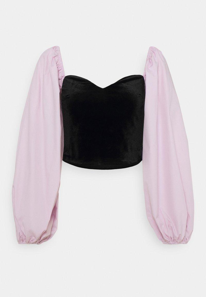 Missguided Petite - CROP WITH POPLIN SLEEVES - Long sleeved top - black