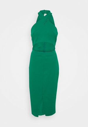 ALI HALTER NECK CUT OUT MIDI DRESS - Jerseyjurk - leaf green