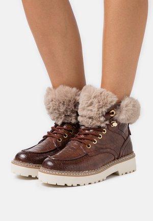 BOOTS - Platform ankle boots - brandy