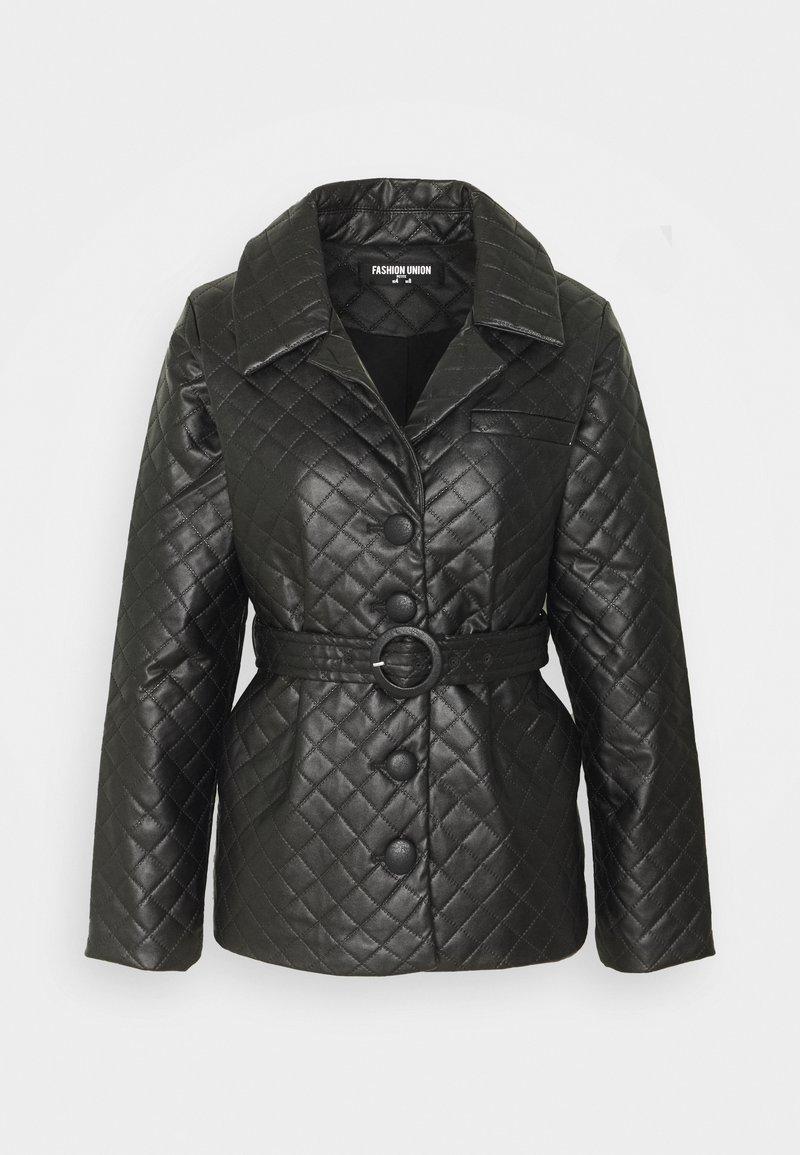 Fashion Union Petite - FINLO - Imitatieleren jas - black