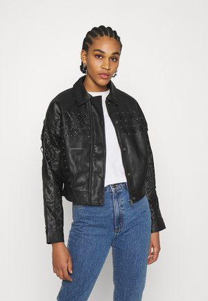 LACE UP JACKET - Faux leather jacket - black