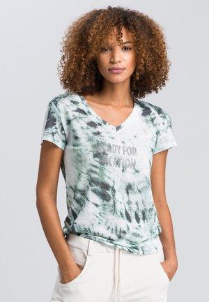 Print T-shirt - dark jade varied