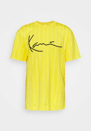SIGNATURE LOGO PINSTRIPE TEE UNISEX - Print T-shirt - yellow