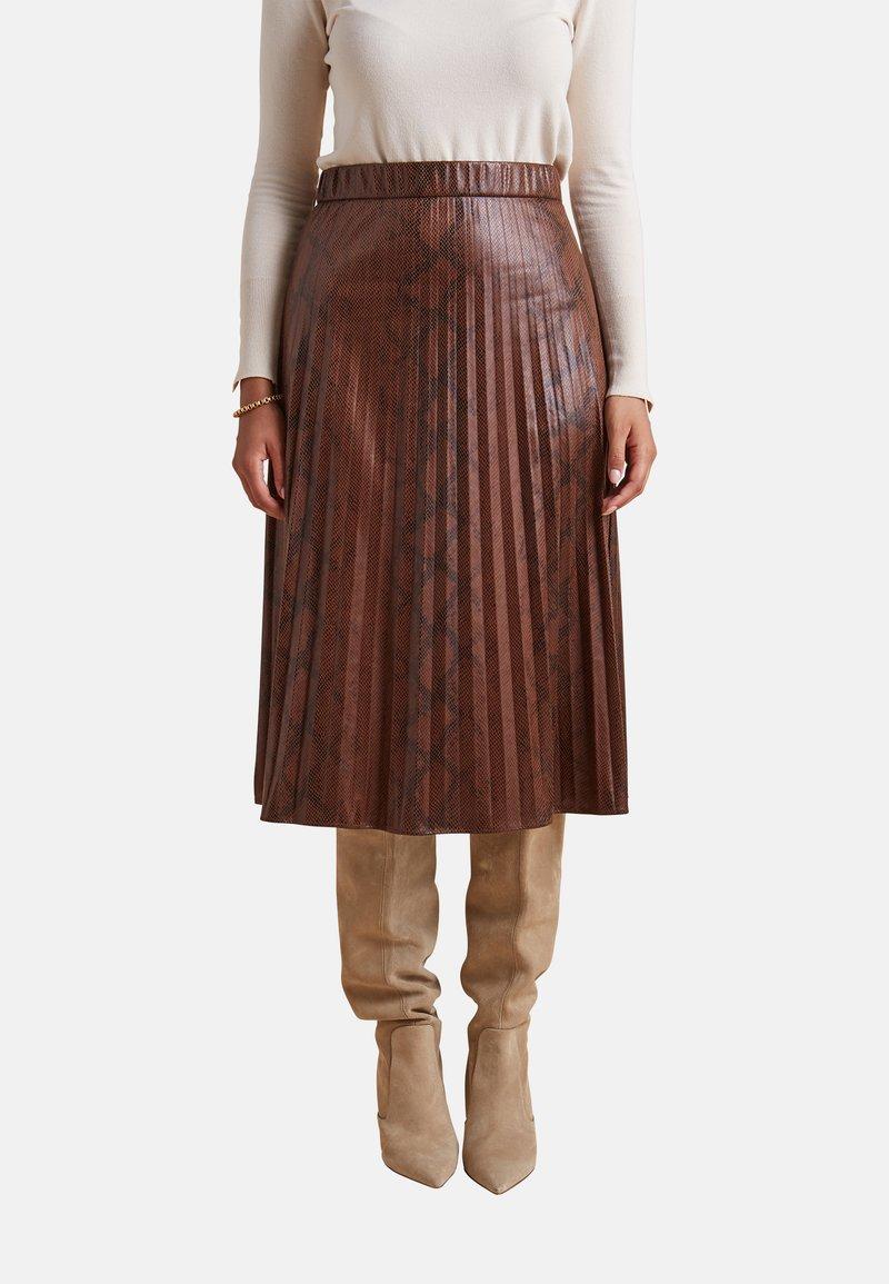 Elena Mirò - GONNA PLISSÉ - A-line skirt - marrone
