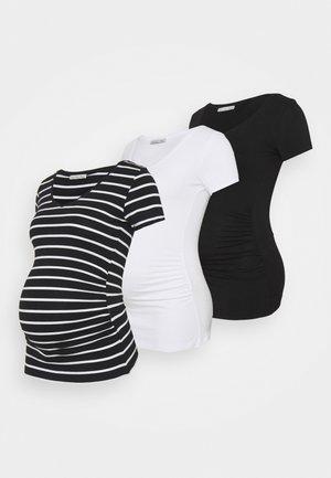 3 PACK - Camiseta estampada - black /white/multi-coloured