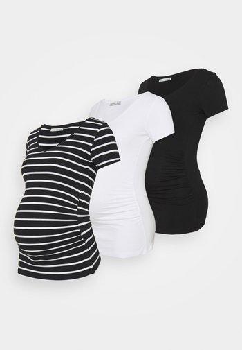3 PACK - T-shirt z nadrukiem - black /white/multi-coloured