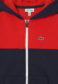 Lacoste - LOGO BLOCK - Zip-up hoodie - navy blue/redcurrant bush - 2