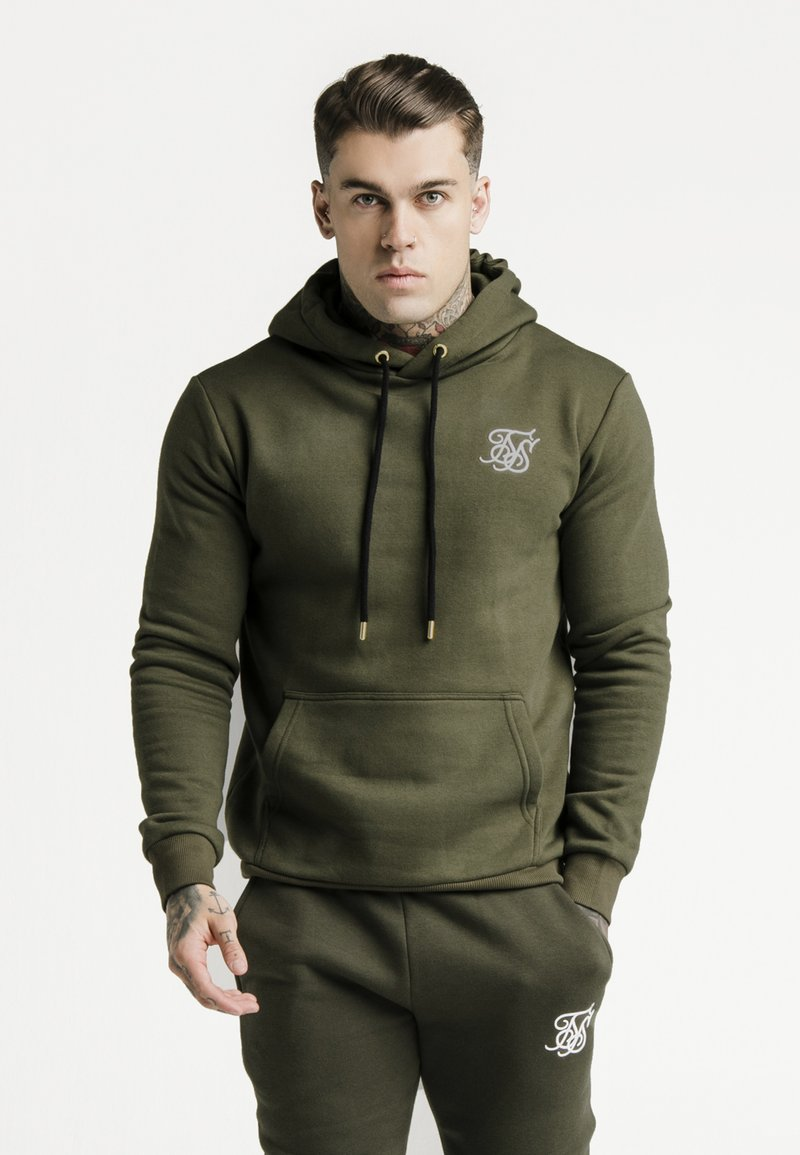 SIKSILK - MUSCLE FIT OVERHEAD HOODY - Jersey con capucha - khaki/white