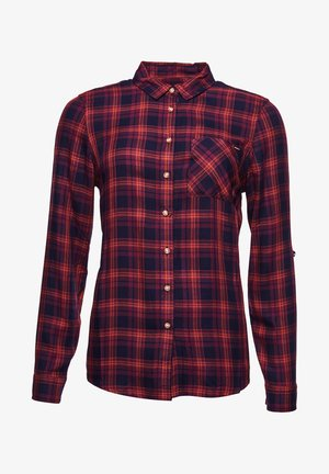 Button-down blouse - navy rust check