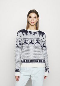 Vila - VICOMET CHRISTMAS - Jumper - snow white/navy - 0