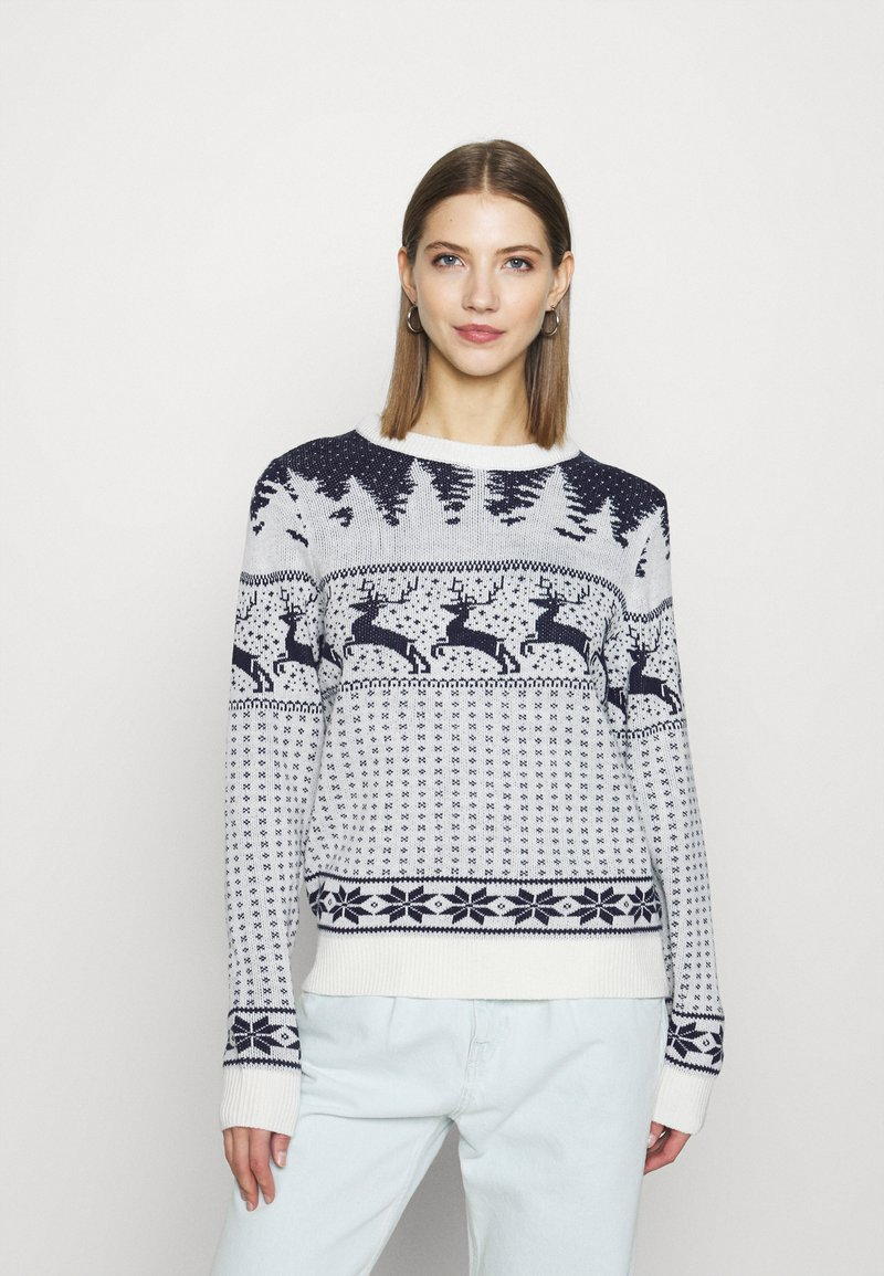 Vila - VICOMET CHRISTMAS - Jumper - snow white/navy