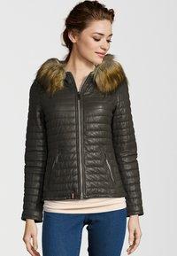 Oakwood - Leather jacket - khaki - 0