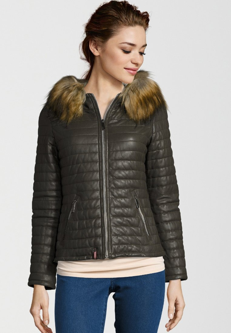 Oakwood - Leather jacket - khaki