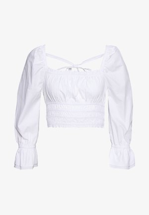 SQUARE FRILL NECK BLOUSE - Blouse - white