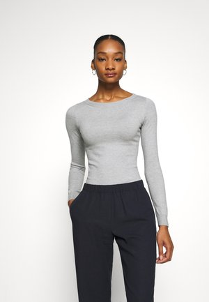 BASIC OPEN NECK JUMPER - Stickad tröja - mottled light grey