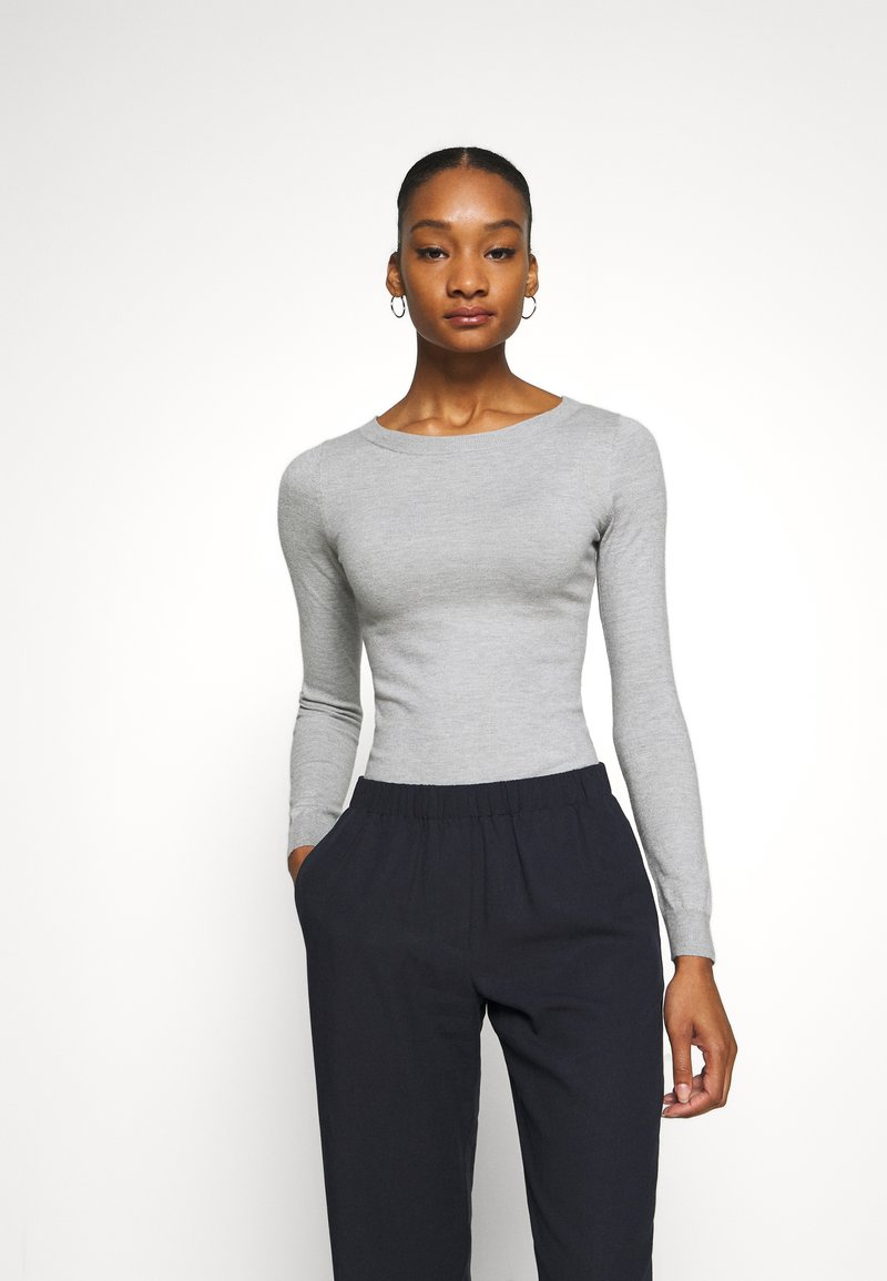 Anna Field - BASIC OPEN NECK JUMPER - Strickpullover - mottled light grey