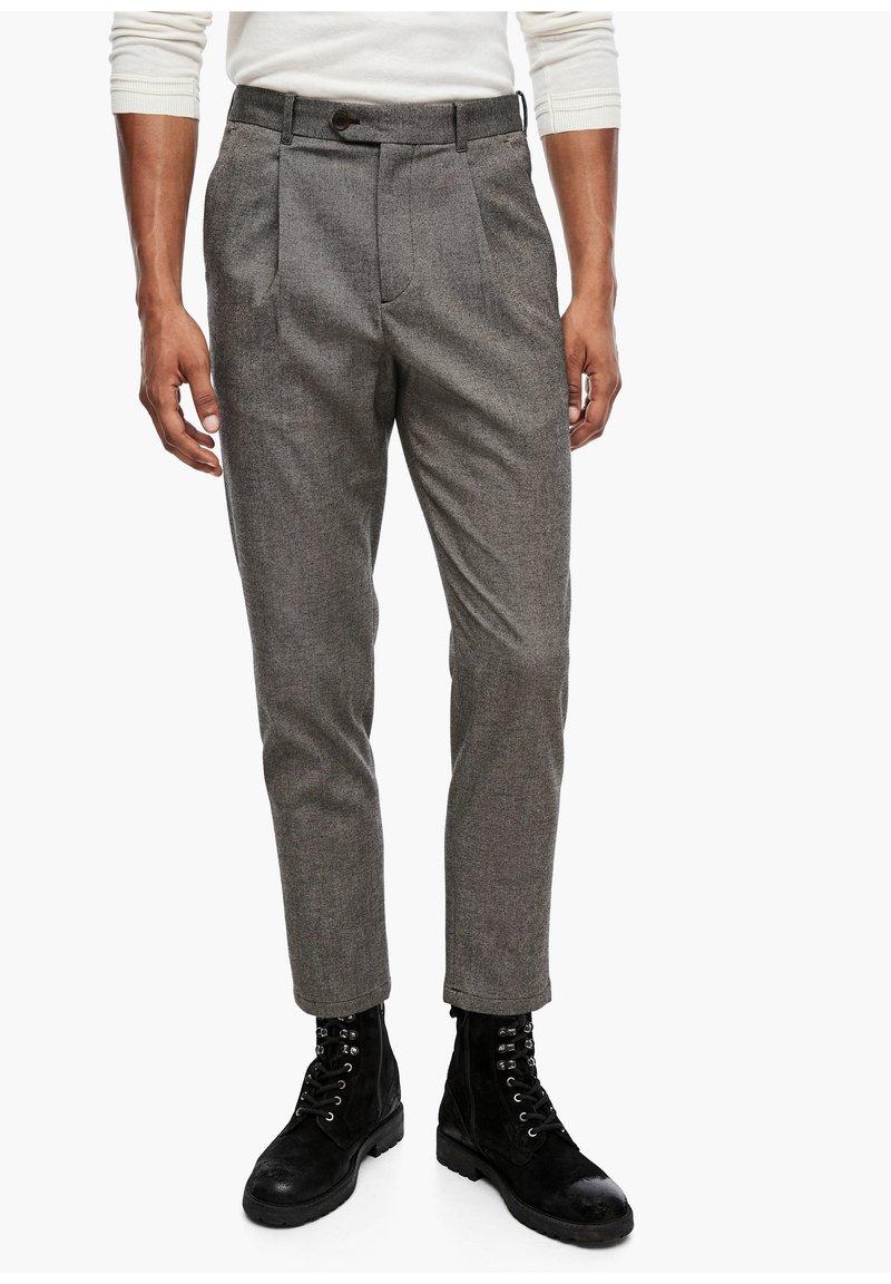 s.Oliver BLACK LABEL - SLIM FIT: TWEEDHOSE - Trousers - brown tweed