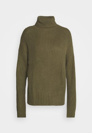 BASIC- Roll neck- long line - Jumper - khaki