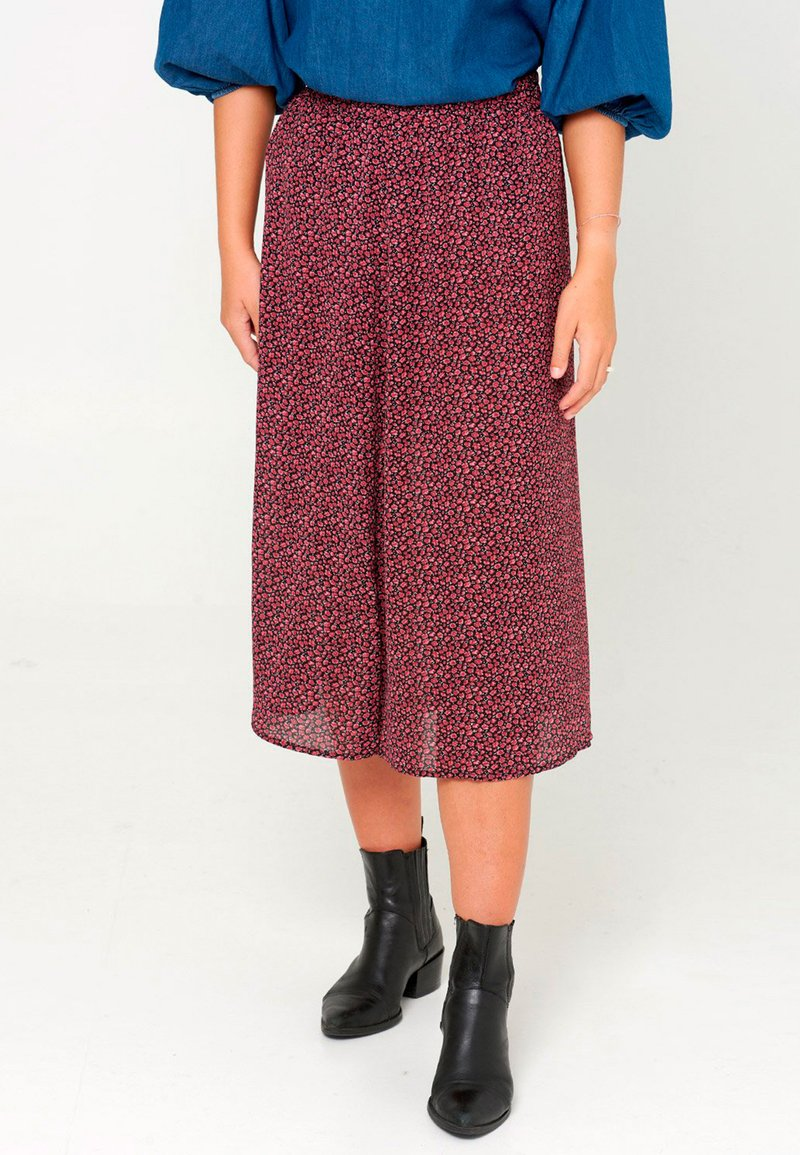 Noella - PAJA - A-line skirt - wine old rose flower