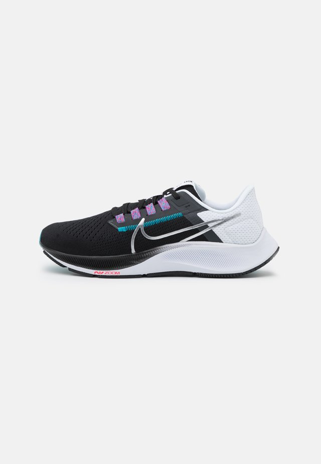 AIR ZOOM PEGASUS 38 - Neutral running shoes - black/metallic silver/white/chlorine blue/anthracite/flash crimson
