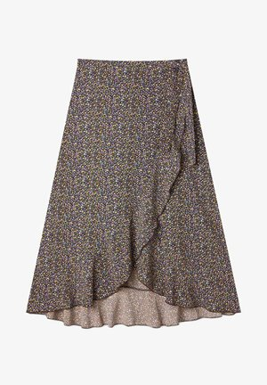 MIT PRINT - Wrap skirt - brown