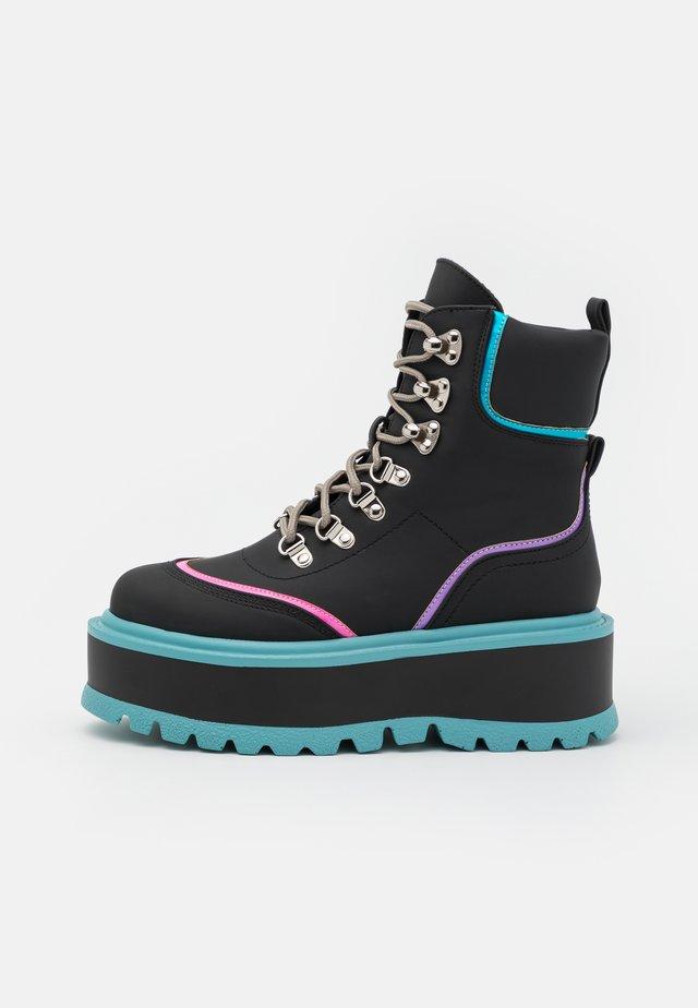 VEGAN SPECTRE - Lace-up ankle boots - black/turqouise