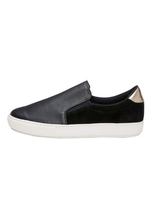 BONE/GOLD SIGNATURE LEATHER SKATER SHOES - Sneakers laag - black