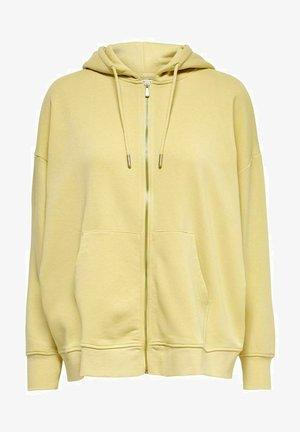 OVERSIZE - Zip-up sweatshirt - straw