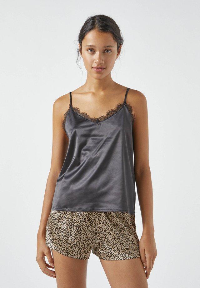 MIT SPITZE - Pyjamashirt - mottled black