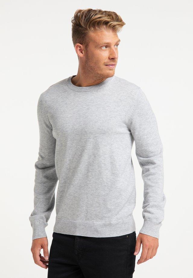 Stickad tröja - hellgrau melange