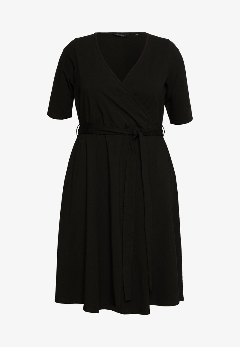 Dorothy Perkins Curve - CURVE WRAP DRESS - Day dress - black
