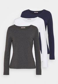 3 PACK - Top sdlouhým rukávem - mottled dark grey/white/dark blue