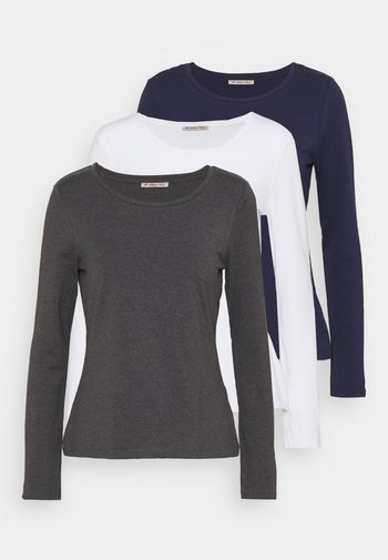 3 PACK - Maglietta a manica lunga - mottled dark grey/white/dark blue