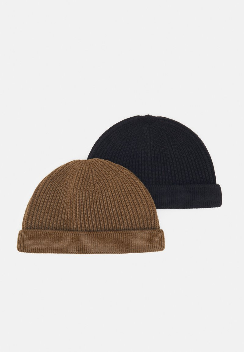 Only & Sons - ONSSHORT BEANIE 2 PACK - Berretto - black/camel