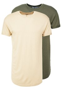 Topman - SCOTTY 2 PACK - Basic T-shirt - beige/khaki - 0