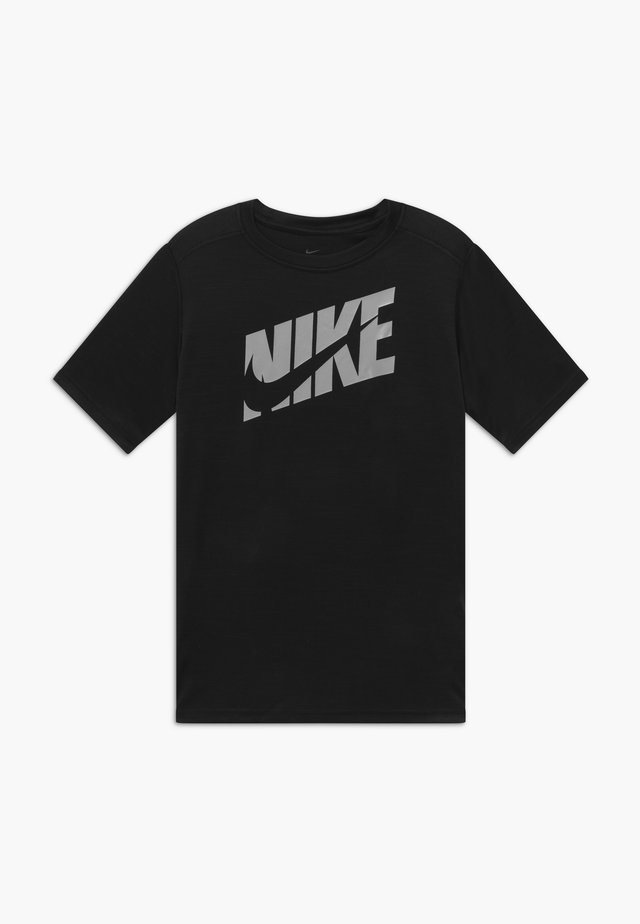 Print T-shirt - black/light smoke grey