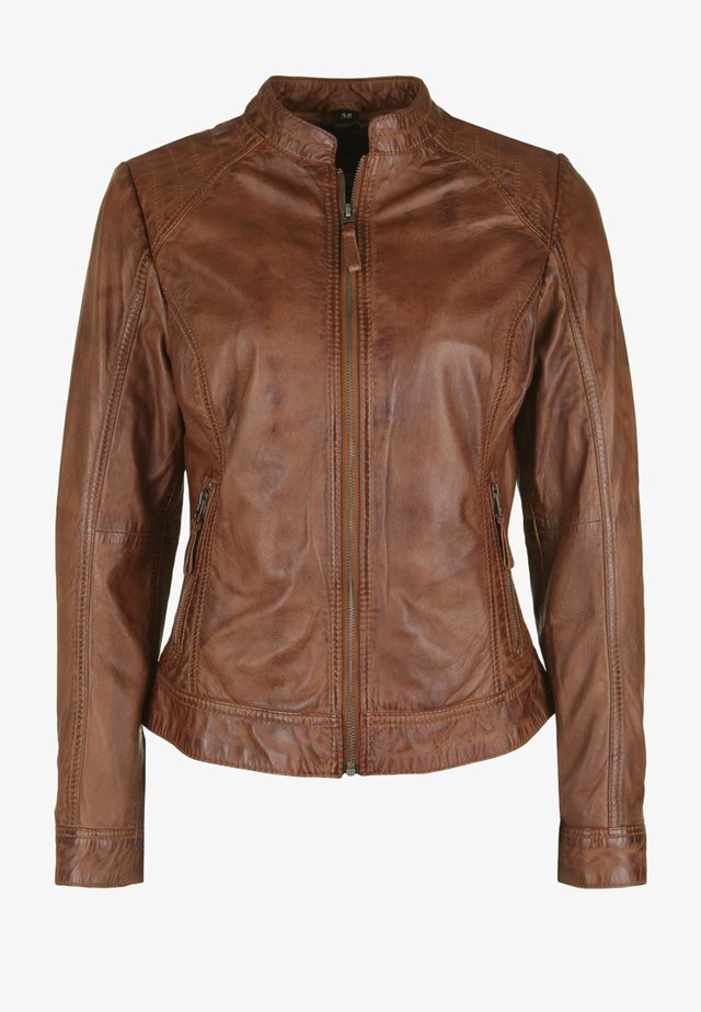 ROSTOCK - Leather jacket - cognac
